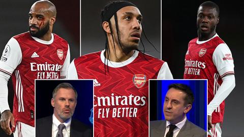Carragher chê Aubameyang lười như Oezil, Neville coi Arsenal là 'lũ mafia'
