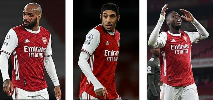 Bộ ba Lacazette - Aubameyang - Pepe chịu nhiều chỉ trích sau thất bại của Arsenal