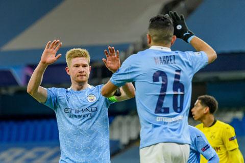 De Bruyne vừa ghi bàn trong chiến thắng 2-1 của Man City trước Dortmund
