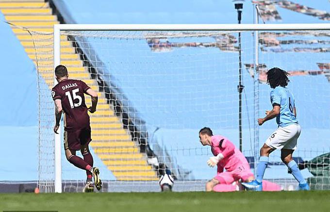 Dallas ghi bàn mở tỷ số cho Leeds ở trận gặp Man City