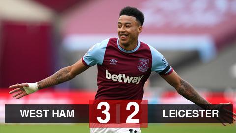 Kết quả West Ham 3-2 Leicester: Lingard tiếp tục thăng hoa, West Ham thắng 'trận cầu 6 điểm' - tống đông khuê