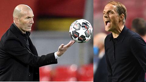 Thomas Tuchel (phải) chưa từng thua khi đối đầu Zinedine Zidane