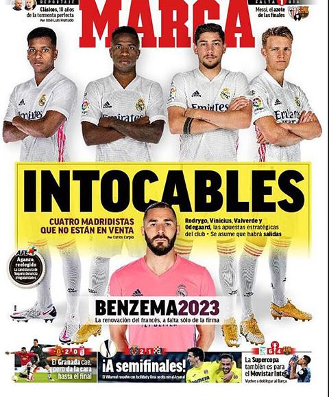 Odegaard, Rodrygo, Vinicius và Valverde là 4 cầu thủ không thể đụng đến của Real