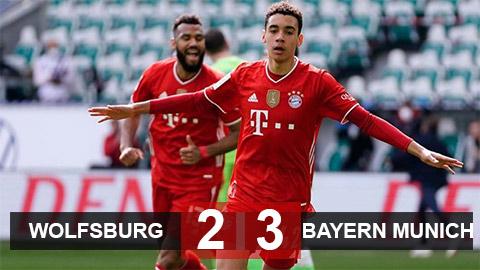 Kết quả Wolfsburg 2-3 Bayern: Thần đồng Musiala tỏa sáng