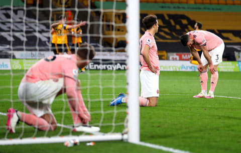 Thất bại trước Wolves khiến Sheffield United xuống hạng sớm 6 vòng đấu
