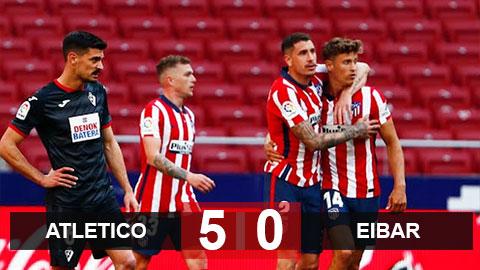 Kết quả Atletico 5-0 Eibar: Đại thắng đội bét bảng, Atletico nới rộng khoảng cách với Real và Barca