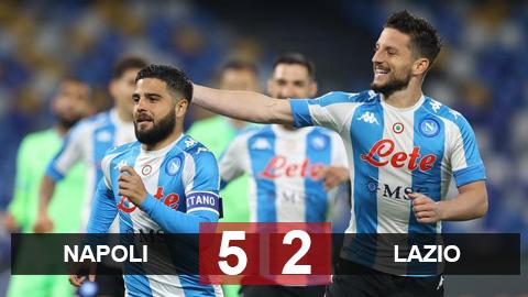 Kết quả Napoli 5-2 Lazio: Insigne đưa Napoli trở lại cuộc đua Top 4