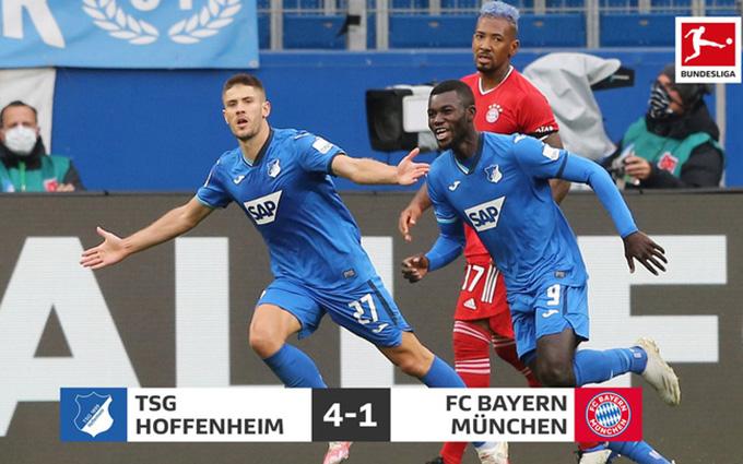 Hoffenhem từng nghiền nát nhà ĐKVĐ Bayern 4-1