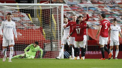 """Đẳng cấp vượt trội sẽ lại giúp M.U (áo sẫm) dội """"mưa gôn"""" vào lưới Leeds"""