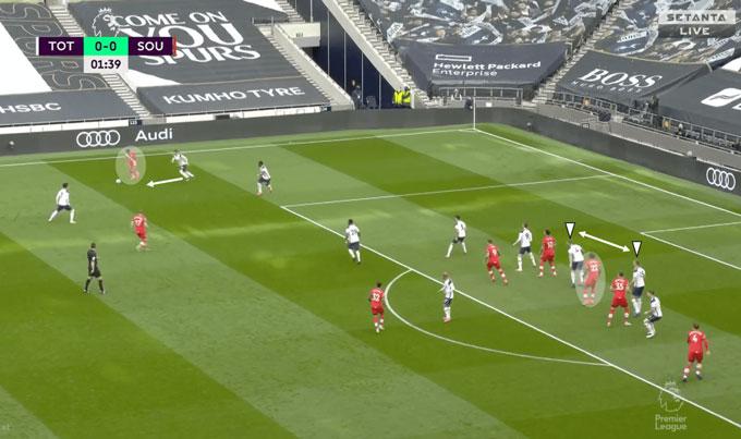 Salisu có quá nhiều không gian để nhận bóng trong vòng cấm của Spurs