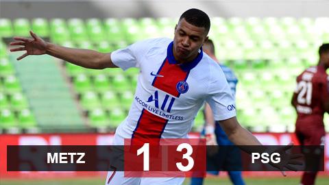 Metz 1-3 PSG: Mbappe lập cú đúp, PSG tạm chiếm ngôi đầu Ligue 1