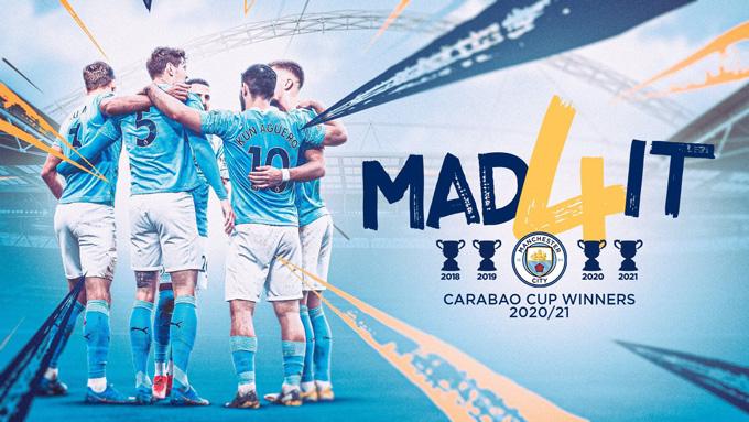 Man City có lần thứ 4 liên tiếp vô địch League Cup
