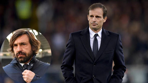 HLV Allegri được kỳ vọng sẽ thay thế Pirlo (ảnh nhỏ) vực dậy Juventus