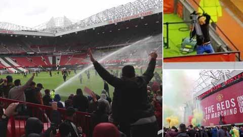 CĐV Man United làm loạn sân Old Trafford yêu cầu 'nhà Glazer cút đi'
