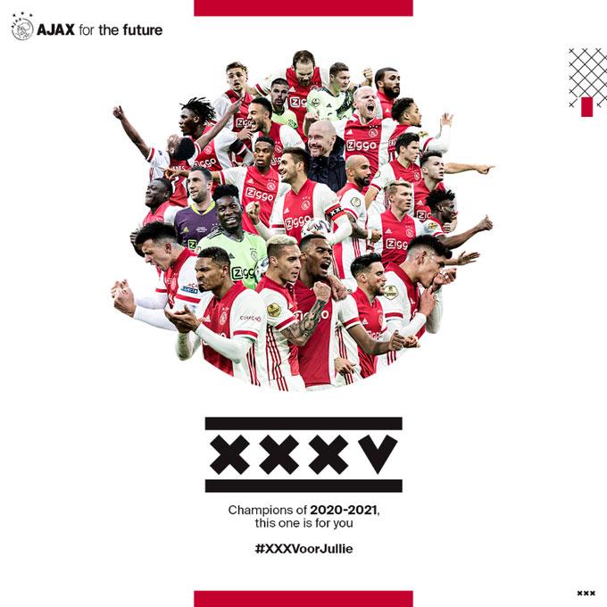 Ajax vô địch giải VĐQG Hà Lan lần thứ 35
