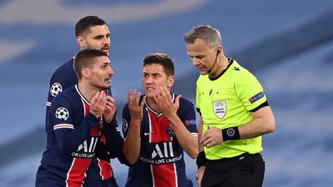 Herrera và Verratti tố trọng tài văng tục với cầu thủ PSG