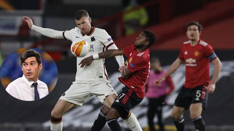 Dzeko (áo sáng) và đồng đội sẽ giúp ông thầy Fonseca (ảnh nhỏ) có trận đánh lớn cuối cùng trước khi rời Roma bằng một chiến thắng danh dự