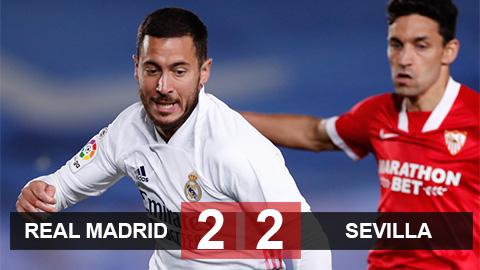 Kết quả Real 2-2 Sevilla: Lỡ cơ hội lên đỉnh