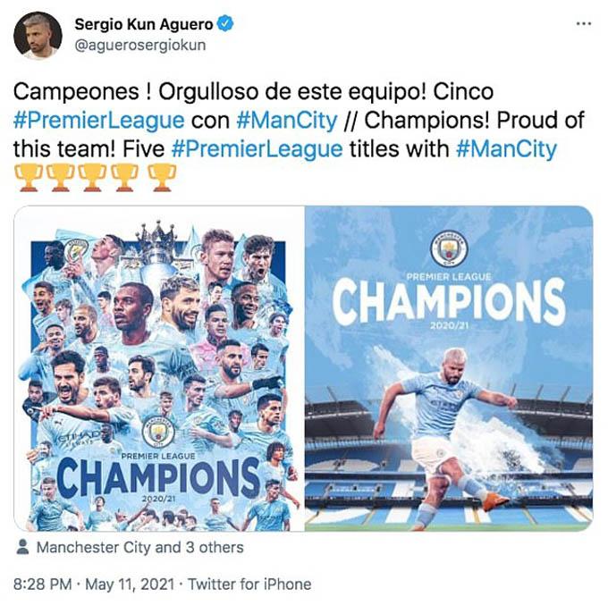 Aguero tự hào với chức vô địch Ngoại hạng Anh cùng Man City