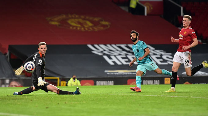 Salah ấn định tỷ số 4-2 trận MU vs Liverpool ở phút 90