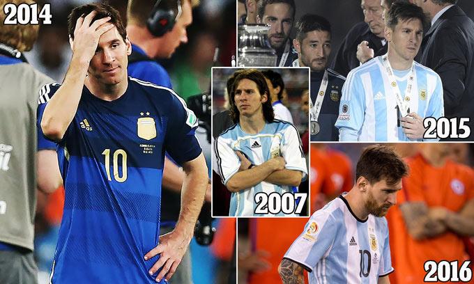 Messi chỉ toàn về nhì cùng với ĐT Argentina