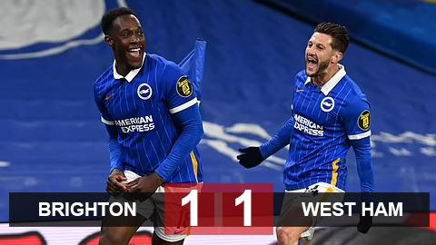 Kết quả Brighton 1-1 West Ham: Welbeck lốp bóng kéo sập hi vọng Top 4 của West Ham