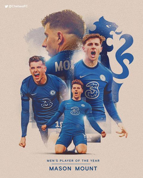 Mount giành giải cầu thủ xuất sắc nhất năm của Chelsea