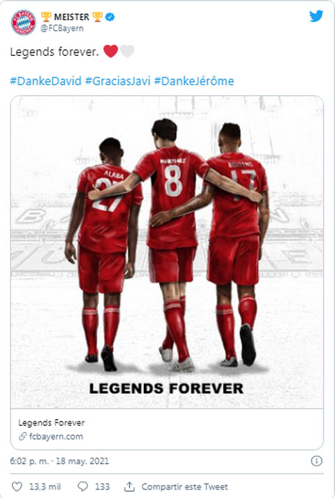 Twitter của Bayern gửi lời cảm ơn tới 3 công thần