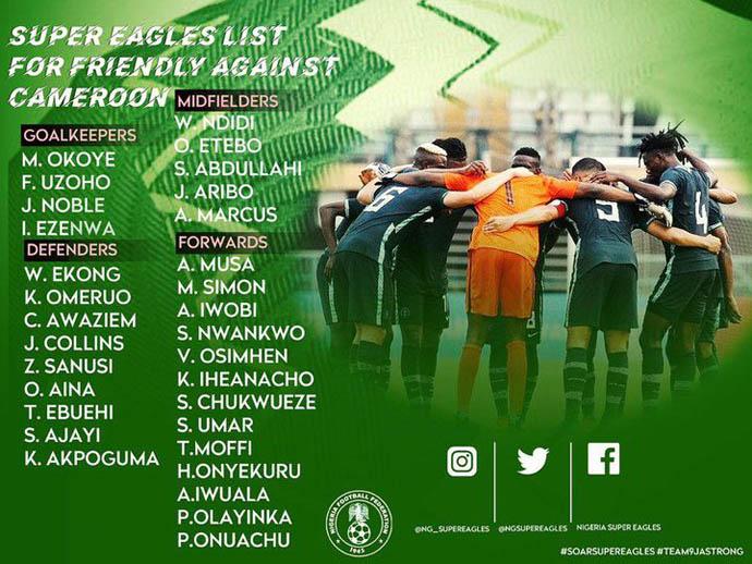 ĐT Nigeria gọi tới 13 tiền đạo cho trận giao hữu với Áo