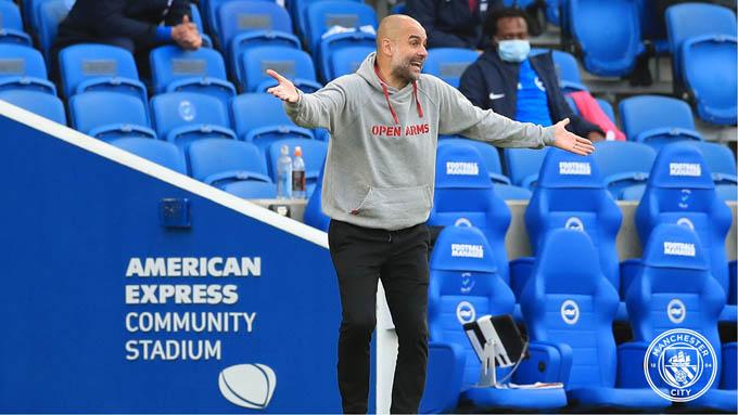 Guardiola không thể vui khi Man City thua trận trước Brighton