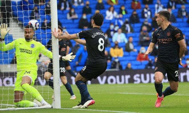 Gundogan ghi bàn ở phút thứ 2 nhưng không thể giúp Man City đánh bại Brighton