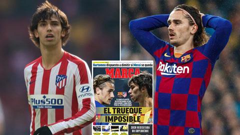 Báo Marca loan tin Griezmann và Felix (trái) đổi chỗ cho nhau