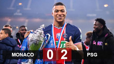 """Kết quả Monaco 0-2 PSG: """"Siêu nhân"""" Mbappe mang cúp về Paris"""