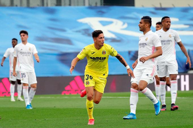 Pino mở tỷ số trận Real vs Villarreal ở phút 20