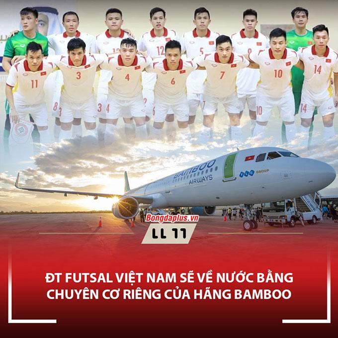Bamboo Airway sẽ là hãng chịu trách nhiệm chuyên trở các cầu thủ đội tuyển Futsal Việt Nam về nước