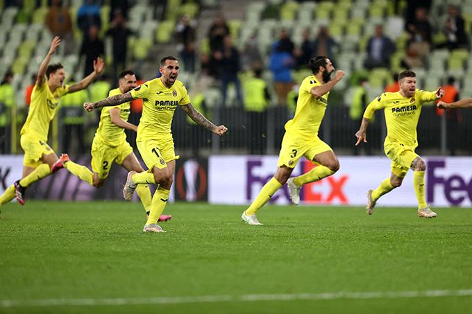 Niềm vui chiến thắng của các cầu thủ Villarreal