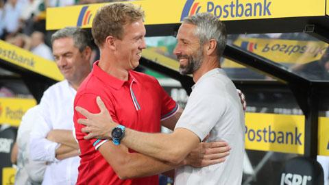 2 tân HLV Nagelsmann (trái) của Bayern và Rose (Dortmund) sẽ phải chịu áp lực lớn nhất