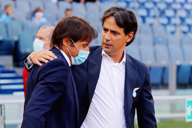 Nhiều khả năng Inter sẽ chỉ giao mục tiêu Top 4 Serie A cho Inzaghi, người sẽ thay thế Conte (trái)