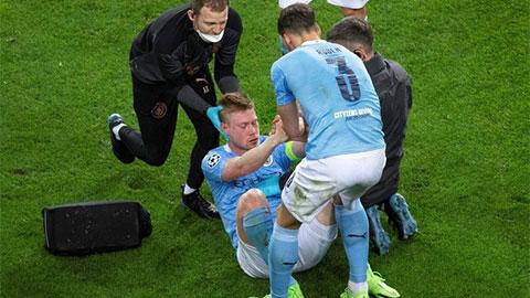 De Bruyne bị gãy xương mũi và hốc mắt