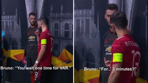 Bruno Fernandes bị ghi lại cảnh đang cằn nhằn về VAR
