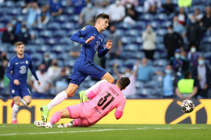Phải đợi tới phút 42, thế quân binh của trận đấu mới bị phá vỡ khi Kai Havertz nhận đường chọc khe của Mount, lừa qua Ederson rồi dứt điểm vào lưới trống. Mở tỷ số cho Chelsea