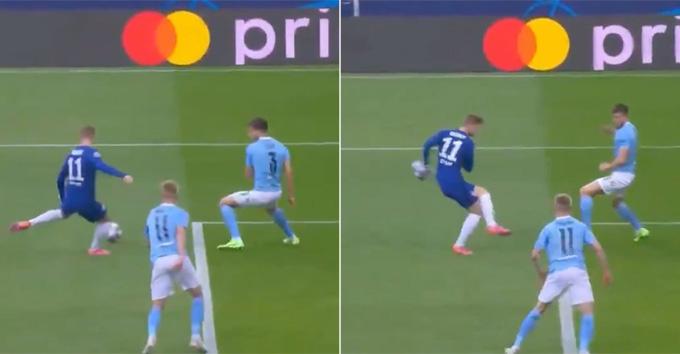 Chân sút Timo Werner của Chelsea lại khiến CĐV thất vọng khi phung phí các cơ hội. Phút thứ 10,Wernersút hụt trong vòng cấm City vô cùng đáng tiếc sau tình huống căng ngang đến từ từ Kai Havertz