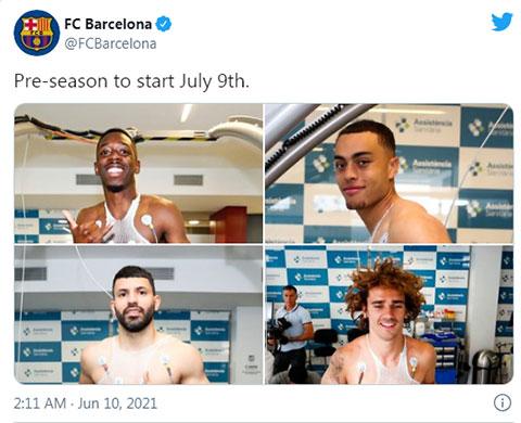 Các cầu thủ Barca sẽ hội quân chuẩn bị cho mùa giải mới vào ngày 9/7 tới