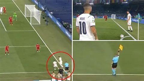 Bài phạt góc 'dị' của Italia bị thổi việt vị làm fan hâm mộ bức xúc
