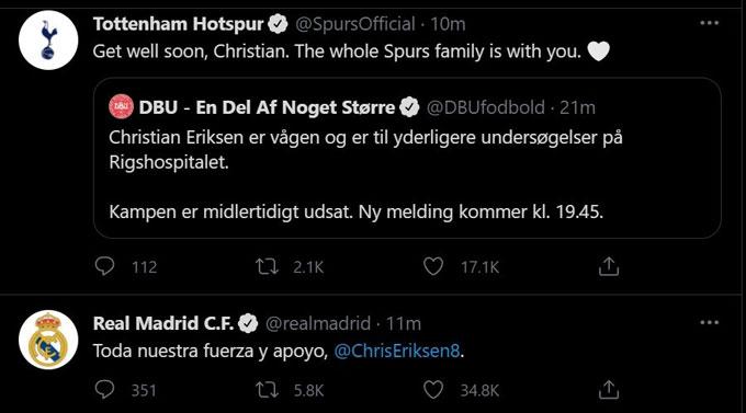 CLB Tottenham gửi lời động viên tới Eriksen