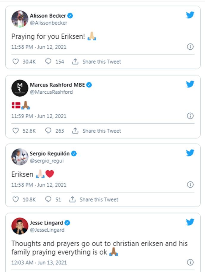 Cầu thủ đều cầu nguyện cho Eriksen