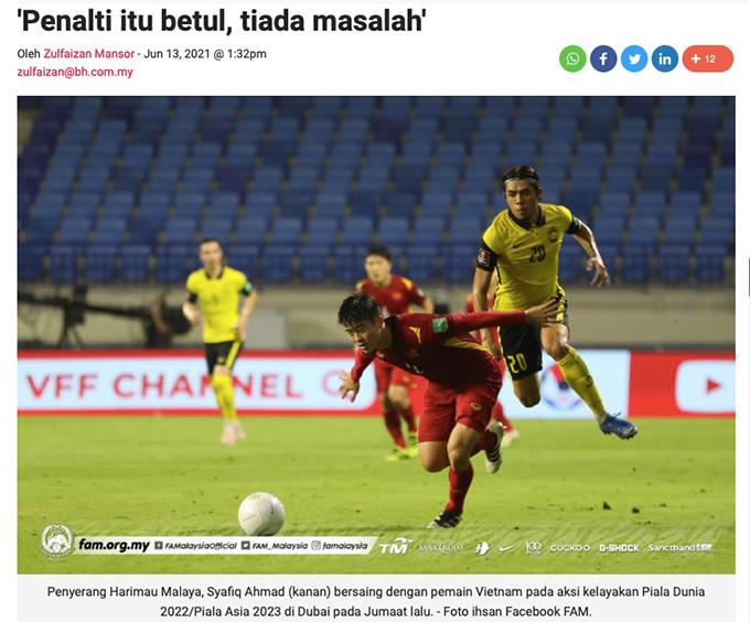 Tờ báo của Malaysia khẳng định, quả phạt đền của Văn Toàn là hoàn toàn chính xác