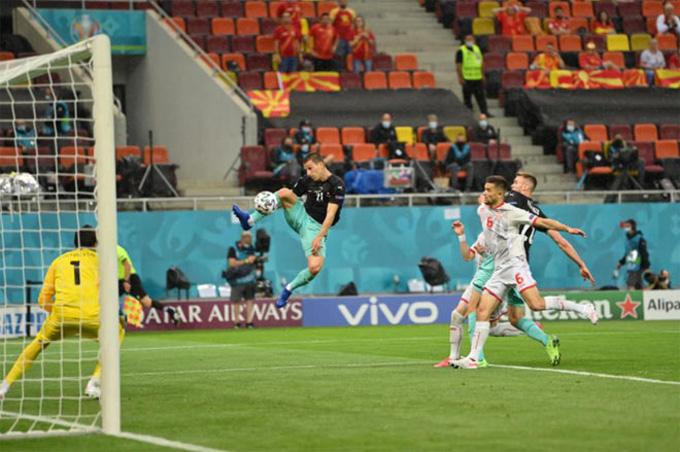 Lainer mở tỷ số trận Áo vs Bắc Macedonia ở phút 19