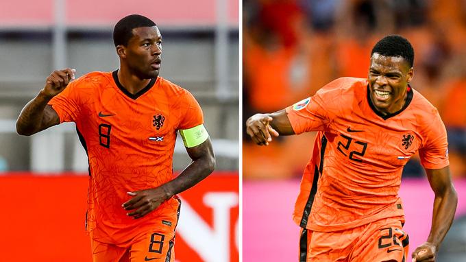 Cả Wijnaldum và Dumfries (phải) đều có 1 trận đấu tốt trước Áo