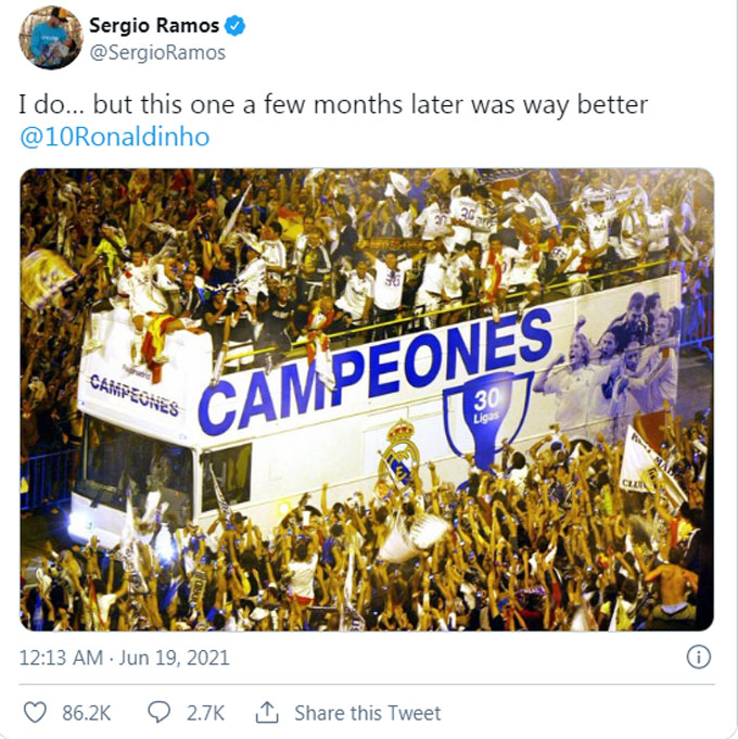 Ramos đáp trả khiến Ronaldinho hoàn toàn câm lặng
